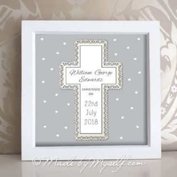 Personalised Christening Gift - Framed Cross (Neutral)